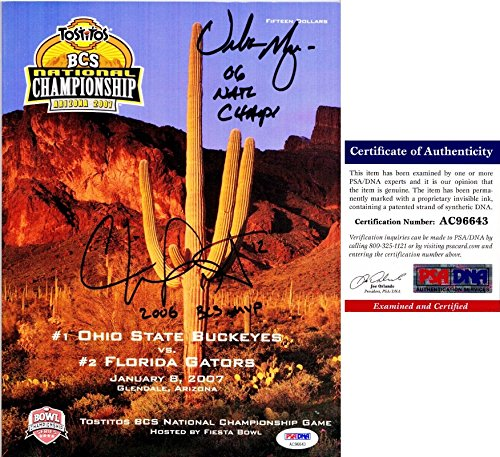 Urban Meyer and Chris Leak Signed - Autographed OFFICIAL 2006 National Championship FULL Program Florida Gators vs Ohio State Buckeyes - PSA/DNA Certificate of Authenticity (COA)