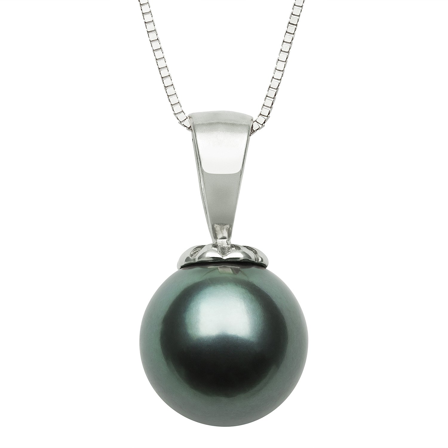 "14kt White Gold Cultured Tahitian Black Pearl Pendant Necklace,18"" Box Chain"