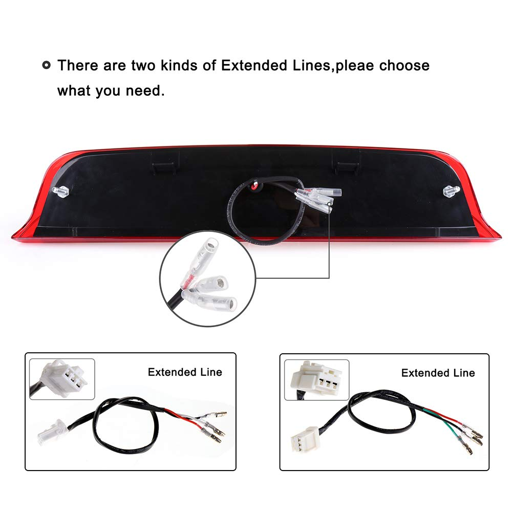 cciyu LED 3rd Brake Lights Cargo Lamp Assembly Automotive Tail Lights Clear Lens Fit for 2004-2015 Nissan Titan 2005-2016 Nissan Frontier 26590-EA800