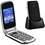 "Easyfone W77 Senior Unlocked GSM Flip Cell Phone (T-Mobile), SOS Button, 2.4"" Large Screen with Large Keypad and Big Font, FM/Flashlight Quick Switch with Charging Dock - Black"