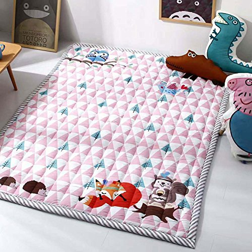 Cusphorn Pink Cotton Baby Crawling Mats Thick Play Mat Anti-slip Kids Bedroom Carpet Perfect for Boys and Girls