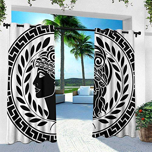 - Hengshu Toga Party, Thermal Insulated Water Repellent Drape for Balcony,Roman Antique Beauty Muse Portrait Patrician Woman Old Fashion Aesthetic Icon, W108 x L84 Inch, Black White