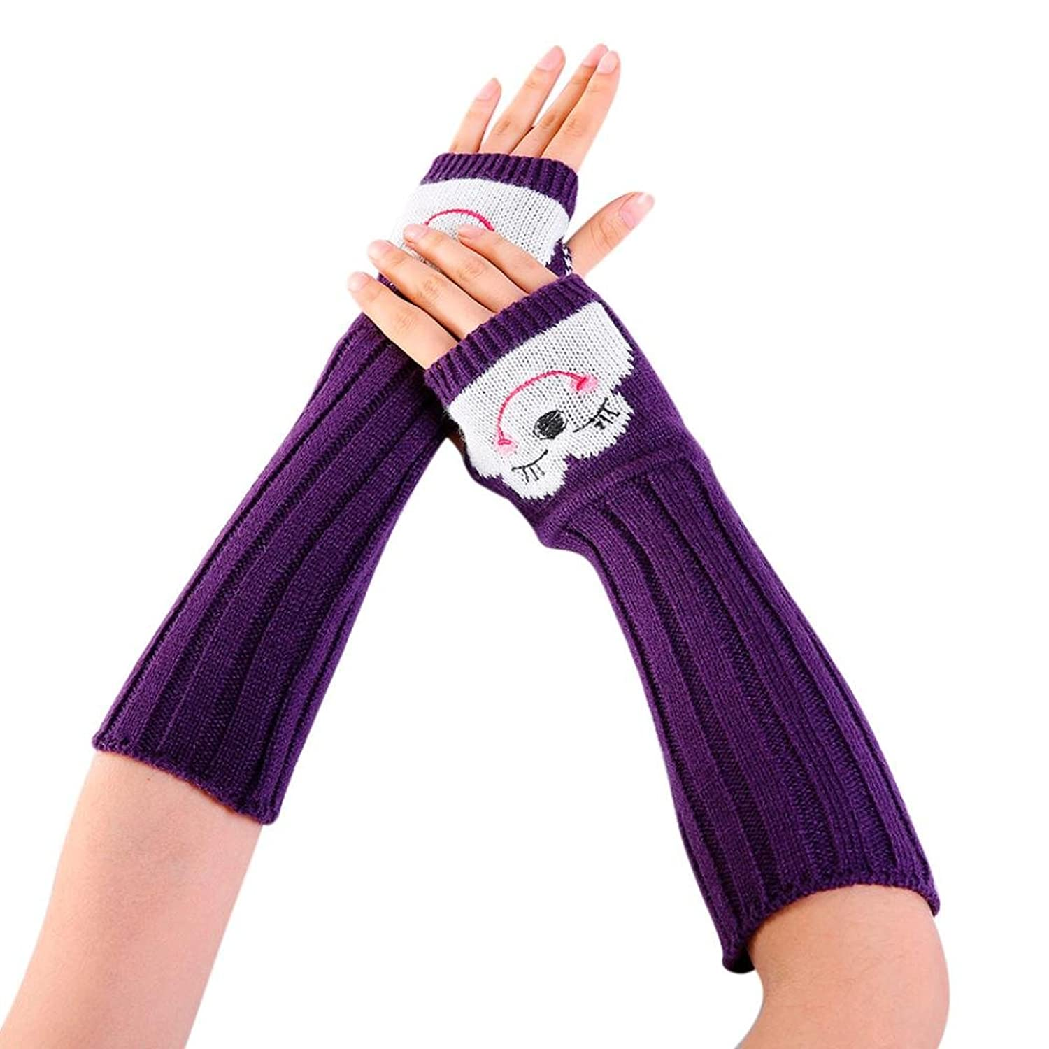 Women Mitten, HHei_K Ladies Winter Wrist Arm Warmer Knitted Long Fingerless Gloves