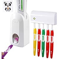 Favydov One-Touch Toothpaste Dispenser Automatic Toothpaste Squeezer and Toothbrush Holder Set (6 Brushes Set) White
