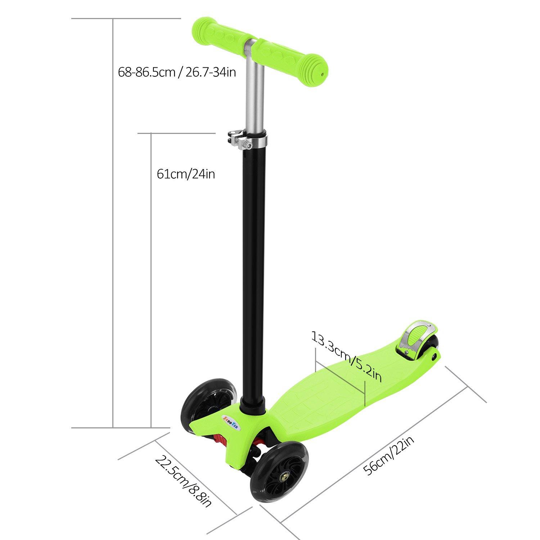 Patinete Scooter 3 Ruedas con Luces LEDs para Niños de 3 a 13 Años de Edad, Mini Scooter Inclinación a Girar, Patinete Infantil con Manillar Altura ...