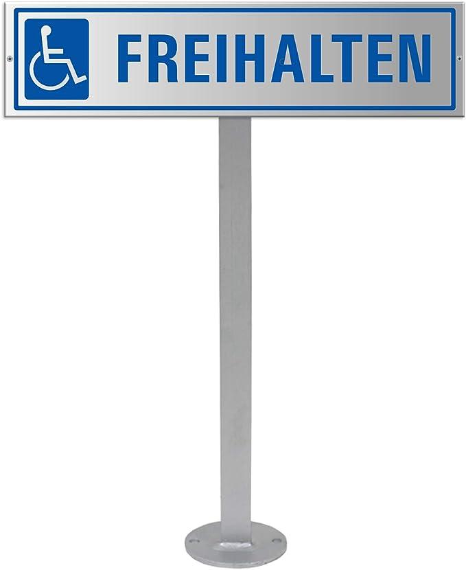 Parkplatzschild Für Behinderte Freihalten Mit Standpfosten Und Extra Schildhalterung Ofform Design Nr 35447 Bürobedarf Schreibwaren