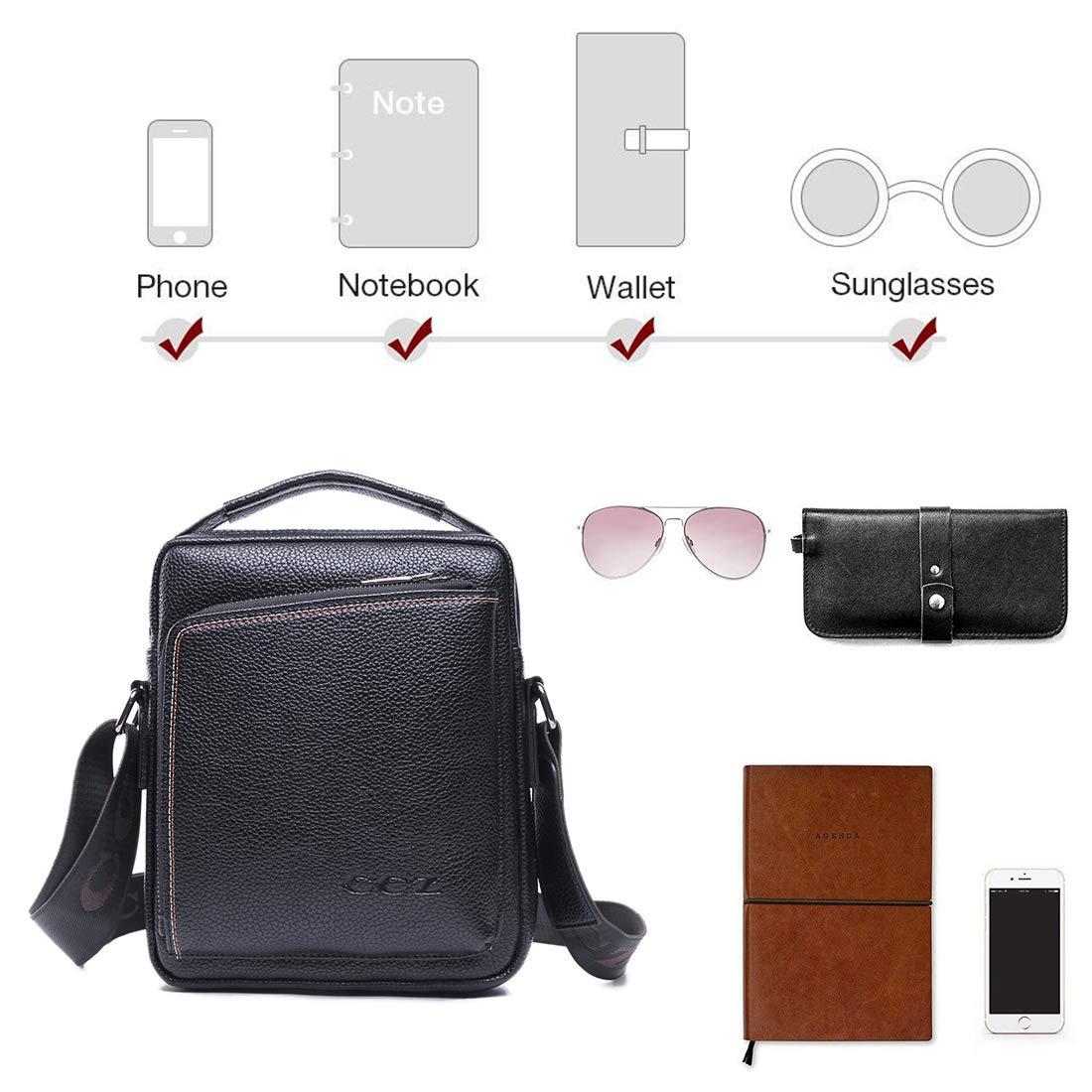 Black CCZ Premium PU Leather Shoulder Bag Business Crossbody Bag Messenger Bag with Top Handle /& Adjustable Strap