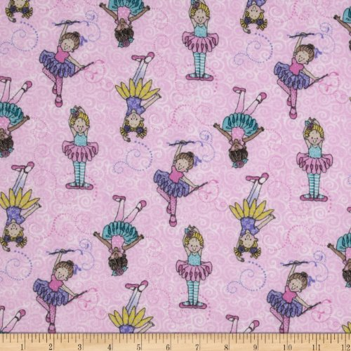 Fabric Traditions Tippy Toes Glitter Tossed Ballerinas Pink/Multi Fabric by The Yard, ()