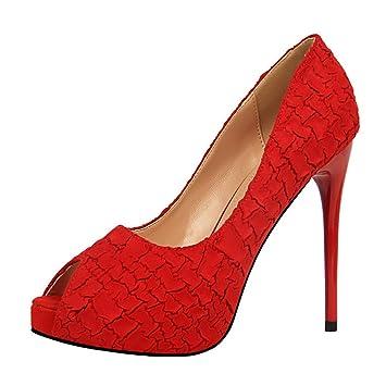 4121c8765f6 Congshua Tacones Altos Sandalias Creativas Plataforma Tacón de Aguja  Mujeres Niñas Señoras Corte de Ante Zapatos Noche Luz Bar Party Zapatos  Modernos (Color ...
