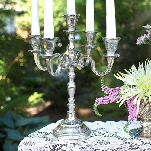 Candelabra Candle Holder, Metal Centerpiece, 12 in. tall, Silver