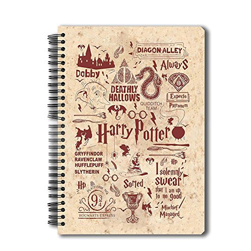 Mc Sid Razz Harry Potter Spiral Notebook of Infographic Red | Multi Subject B5 Size Notebook for Students |Gift Set- Christmas gift /Birthday / Return gift / Anniversary Licensed by -