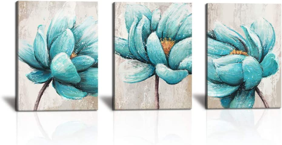 KLVOS 3 Panel Canvas Wall Art Teal Blue Lotus Flower Picture Painting Prints Modern Home Living Room Decoration Aqua Blue Floral Artwork for Bedroom Gallery Wrapped Ready to Hang 12
