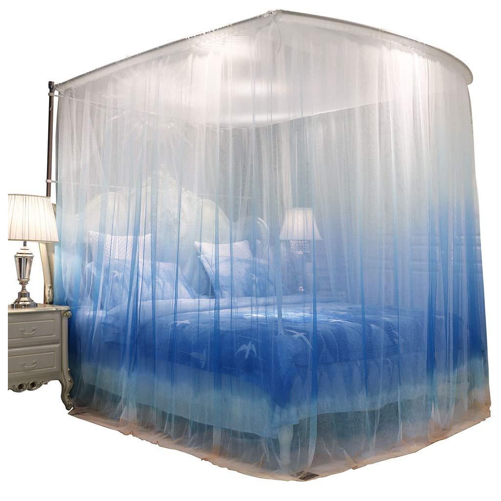 蚊帳 蚊帳 ヨーロッパ二重層暗号化蚊帳 上陸U字型ガイド蚊帳 格納式ダブルキャノピー ギフト (Color : Blue, Size : 180*200*210cm) 180*200*210cm Blue B07T628CGL