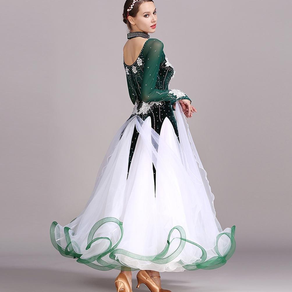 Hecho a Mano Bordada Vals Vestidos de Baile de Salón para Mujeres Disfraz de Rendimiento Mangas Largas Gran Swing Vestidos de Baile de Competición: ...