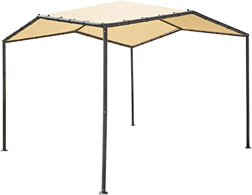 ShelterLogic 10' x 10' Pacifica Gazebo Canopy Charcoal Carbon Steel Frame and Marzipan Tan Water Resistant and Sun Protection Cover