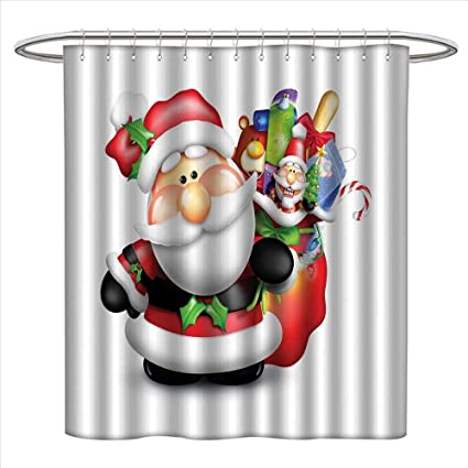 Jinguizi Santa Shower Curtains Sets Bathroom Whimsical Cartoon Father Xmas With Pinkish Cheeks And Bag Full