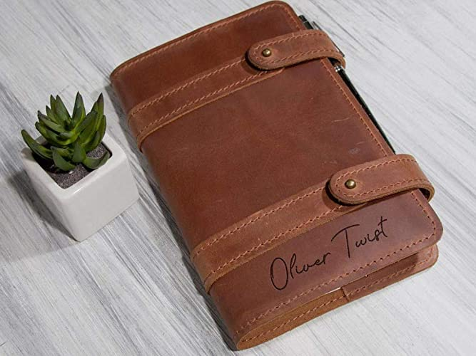 5cdfa877fee1b Personalized Leather Cover Engraved Notebook Cover Business Gift for Men  Custom Journal Notebook Christmas Gift for Husband or Boyfriend Traveler  Notebook ...