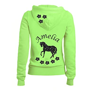 e5d9c8516 Girls Neon Green Full Hoodie Personalised with Black Sparkly Glitter ...