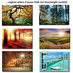 Startonight Canvas Wall Art Landscape Road in the Forest, Nature USA Design for Home Decor, Dual View Surprise Artwork Modern Framed Ready to Hang Wall Art 31.5 X 47.2 Inch 100% Original