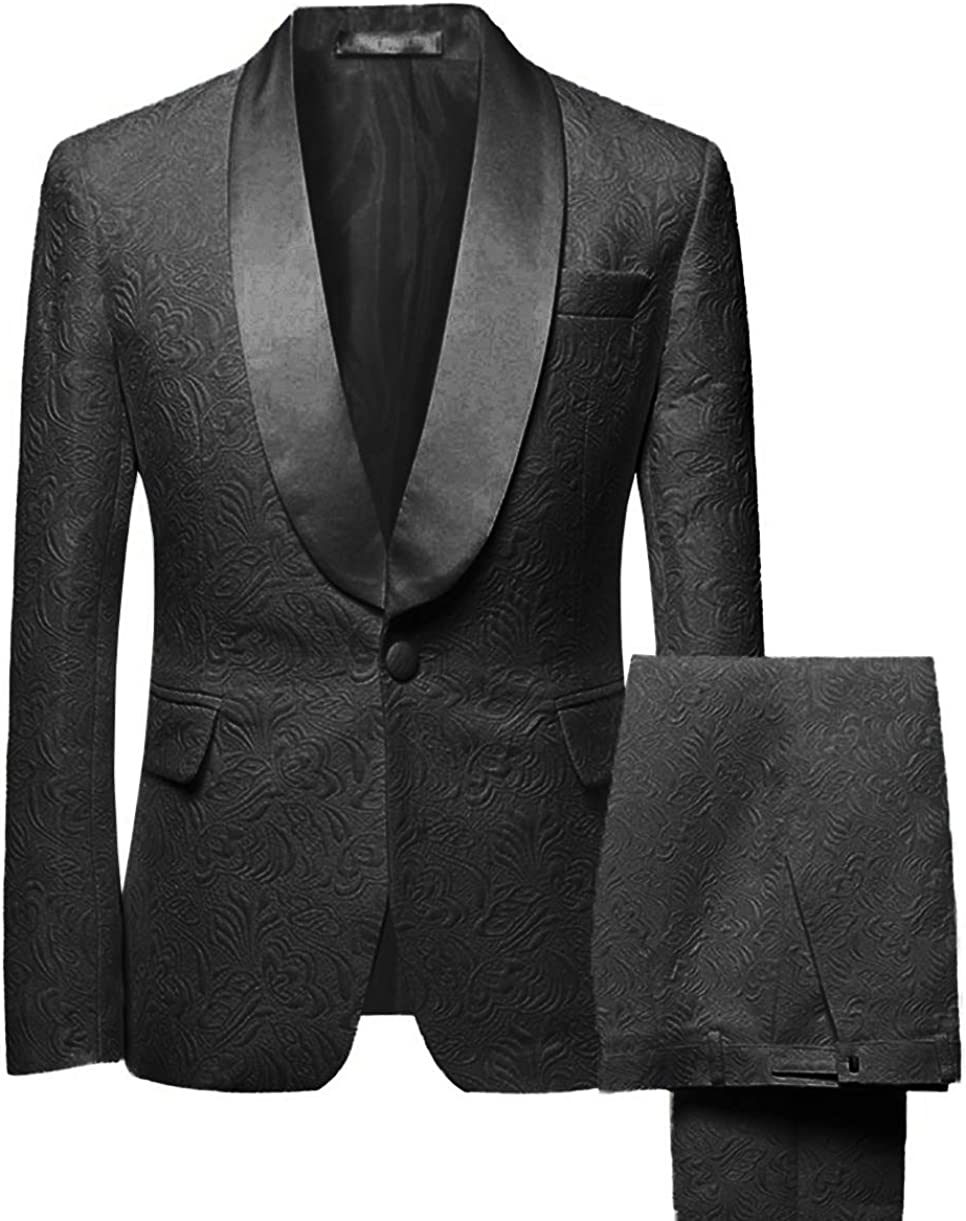 Men S Two Piece Formal Printing Mens Suit Slim Fit Shawl Collar Wedding Tuxedos For Groomsmen Blazer Pant At Amazon Men S Clothing Store