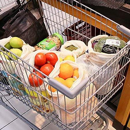 Lavables en Machine AOKKR Sacs Reutilisable Fruit Legume en Maille L/éger Les Sacs /à Cordon Shopping Et Le Stockage Sac Eco en Coton Lot de 8 Sacs /à Grille L/égumes l/Épicerie pour Jouets