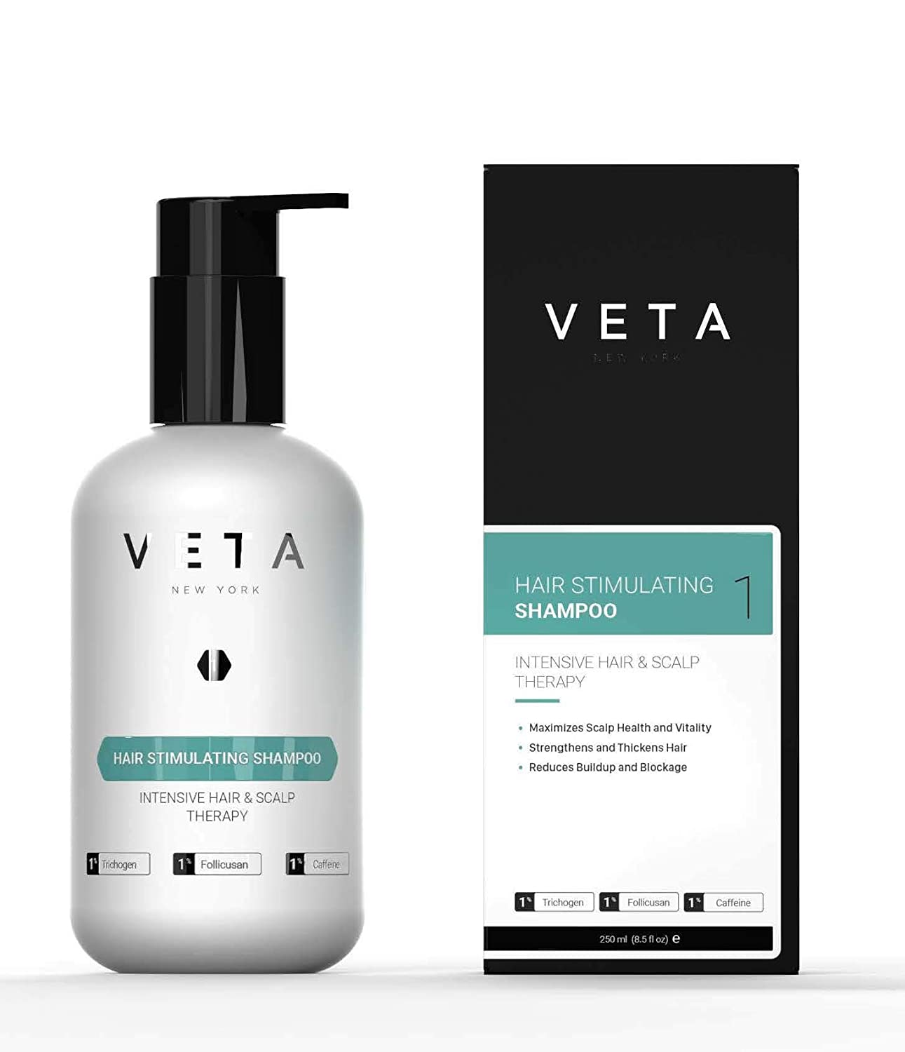 Veta – Hair Stimulating Shampoo For Hair Loss – Drug Free & Sulfate Free Treatment for Men and Women – Restores Hair Growth Cycle – 1% Trichogen and 1% Follicusan – 8.5 fl. oz.