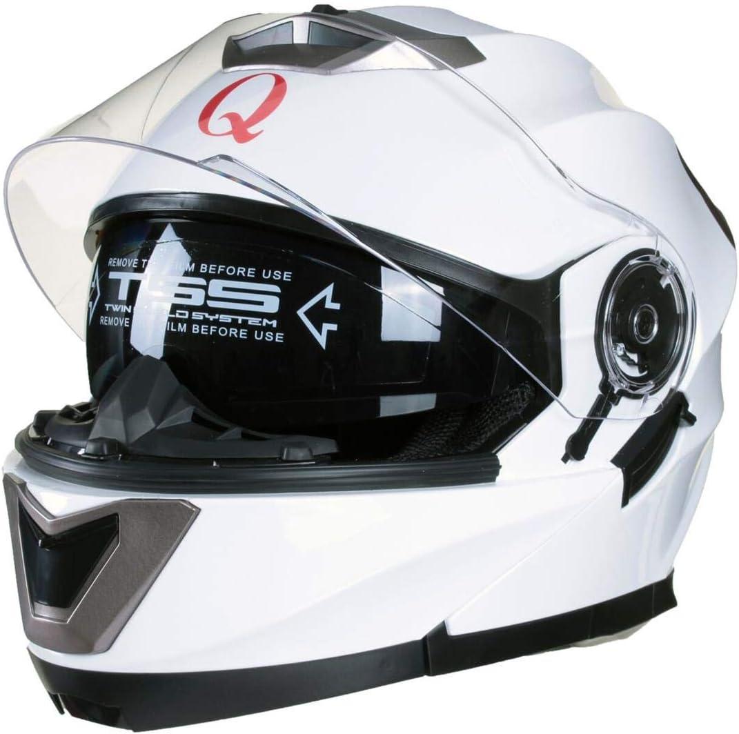 Qtech Klapp Motorradhelm mit DOPPELVISIER//Sonnenblende 53-54cm XS Rosa