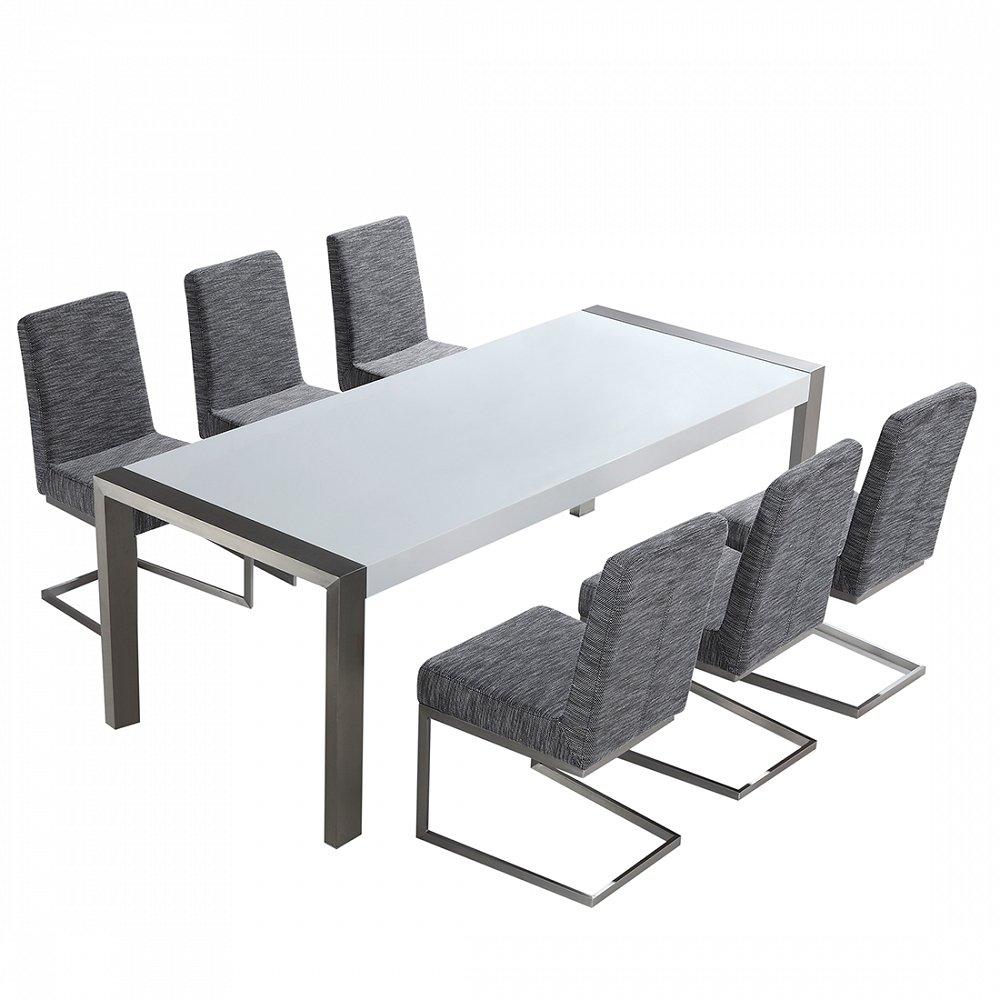Edelstahlgarnitur - Esstisch 220 rostfrei - Stühle frei wählbar - ARCTIC I
