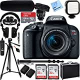Canon EOS Rebel T7i Digital SLR Camera with EF-S 18-55mm IS STM Lens w/Tascam DSLR Audio Recorder and Shotgun Microphone + 64GB Pro Video Bundle