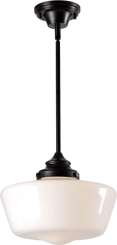 Kenroy Home 93661ORB Cambridge Pendants, 1 Light, Blackened Oil Rubbed Bronze & White Glass