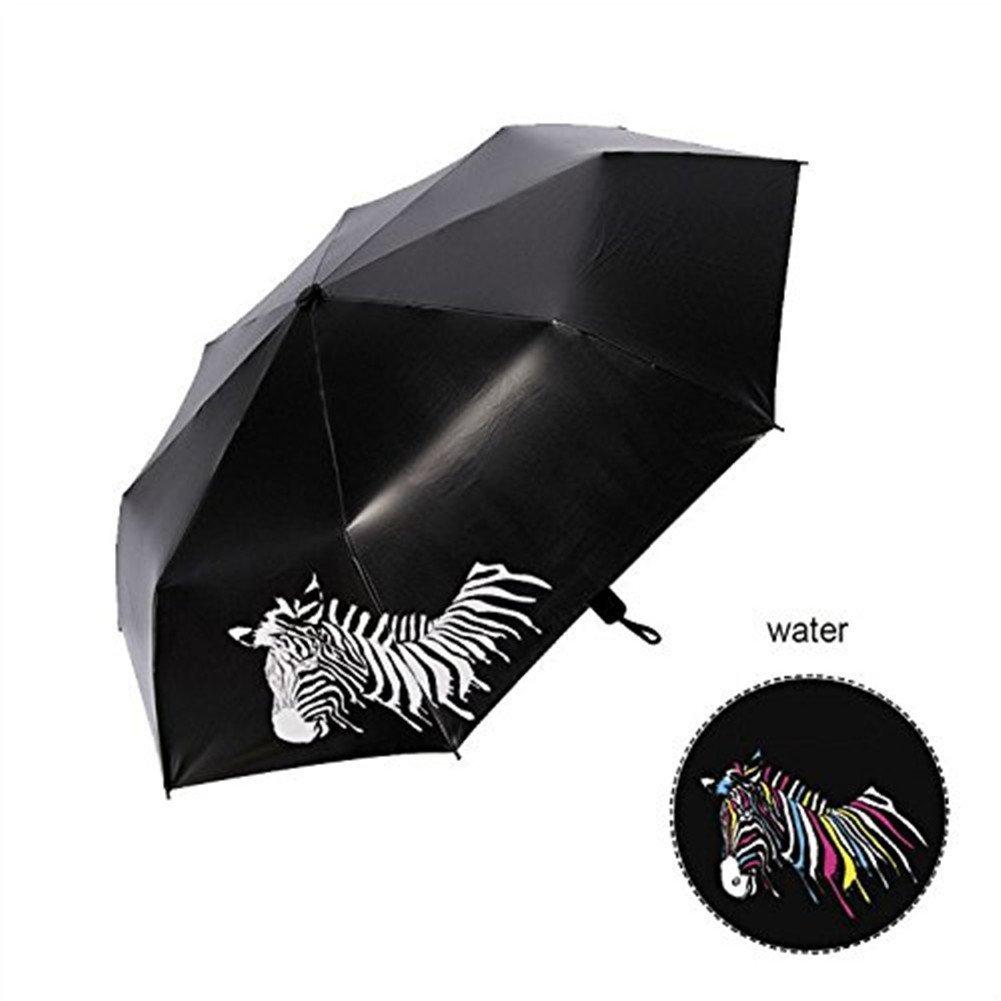 GenialES Paraguas Mágicas Cambia Color Plegable Ligera Anti-UV Cortavientos para Sol Lluvia Cambiar del Blanco al Multicolor Bajo gotas de Lluvia: ...