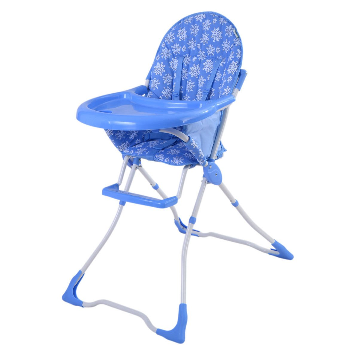 Costzon Adjustable Baby High Chair Infant Toddler Feeding Booster Seat Folding (Removeable Tray, Blue)