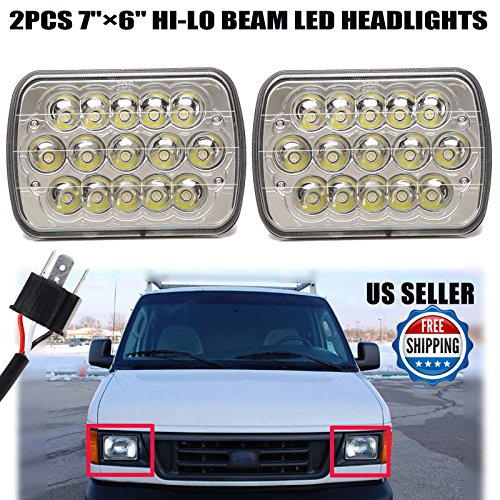 2Pcs 7X6 Inch LED Headlight for Ford E250 Cargo Van 1992-2014 High Low Beam Rectangular Headlamps Replacement with H4 Plug H6014 H6052 H6054 6054-2 Year Warranty