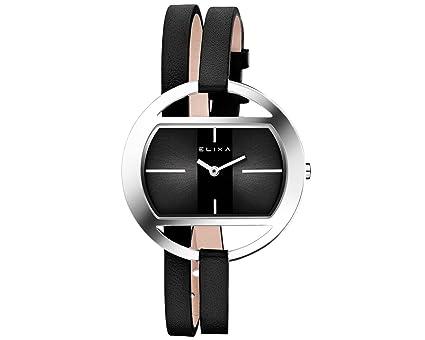 Elixa e125-l514 Mujer Negro doble de cuero Wrap reloj Oval plateado brillante caso Sunray Dial: Elixa: Amazon.es: Relojes