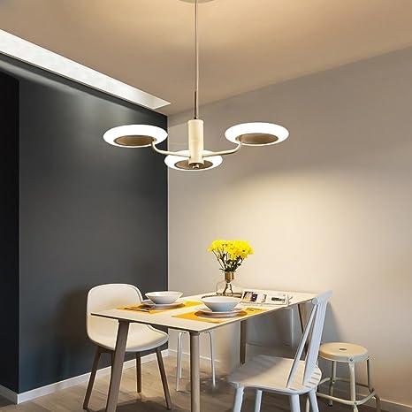24W LED Colgante de Luz Moderno Redondo Blanco 3-Luces ...
