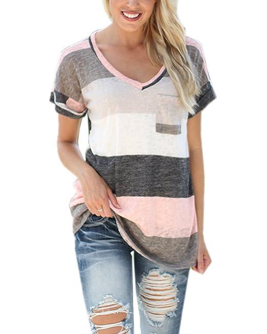 AIYUE Camiseta de Mujer Manga Corta Cuello-V Rayados con Bolsillo Camisa Básica Suelta Blusa