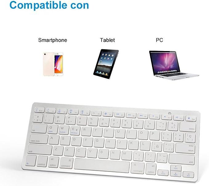 Teclado Bluetooth en Español paraAndroid Windows Compatible para PC Portátil Videojuego