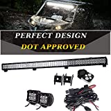 TURBO SII 39 inch Led Work Light Bar 252w Spot Flood Combo Beam Off-road Light bar with 1Lead Remote Control Wiring Harness Kit For Jeep Tractor Boat Off-Road SUV ATV Truck