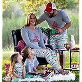 Family Matching Clothes Christmas Pajamas Set Blouse +Santa Pants (XL(Men), Gray)