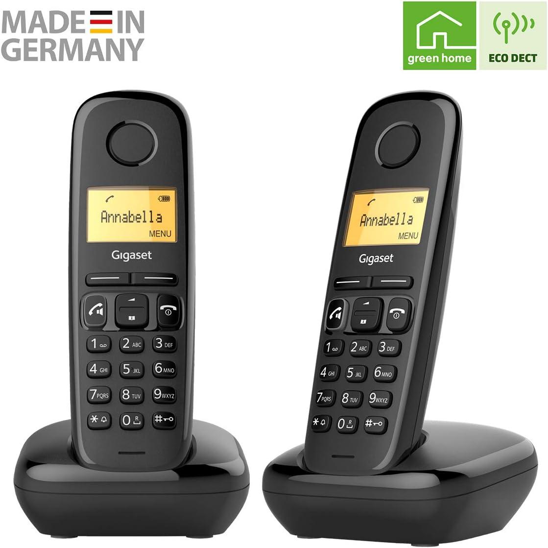 Gigaset A270 Duo - 2 Teléfonos inalámbricos manos libres, gran pantalla iluminada, agenda 80 Contactos, color negro, 5