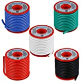 BNTECHGO 12 Gauge Silicone Wire Kit Red Black White Blue and Green Each 25ft 12 AWG Stranded Wire