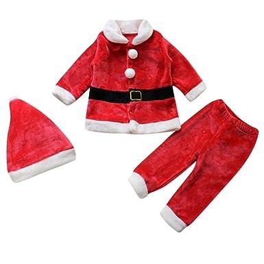 Le SSara Bebé 3pcs Navidad Santa Claus Traje Traje Sombrero + Capa + pantalón