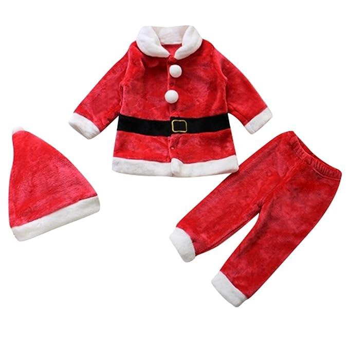 Le SSara Bebé 3pcs Navidad Santa Claus traje traje sombrero + capa + pantalón (0