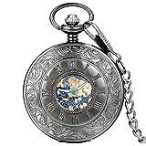 Avaner Silver Steampunk Antique Skeleton Roman Number Half Hunter Case Hand Wind Mechanical Pocket Watch Necklace