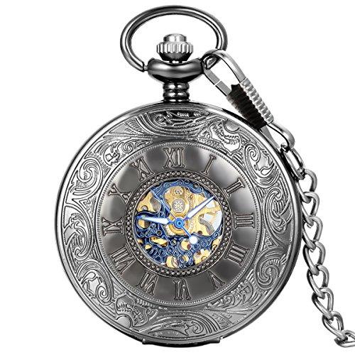 Avaner Black Steampunk Antique Skeleton Hand Wind Mechanical Pocket Watch with Roman Number Half Hunter Case for Men Women ()