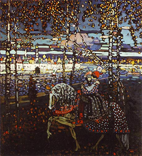$50-$4000 Hand Painted Art Paintings by College Teachers - Wassily Kandinsky Couple Riding Russian Abstract Oil Painting Reproduction - Wall Decor Canvas Old Famous Works -Size04