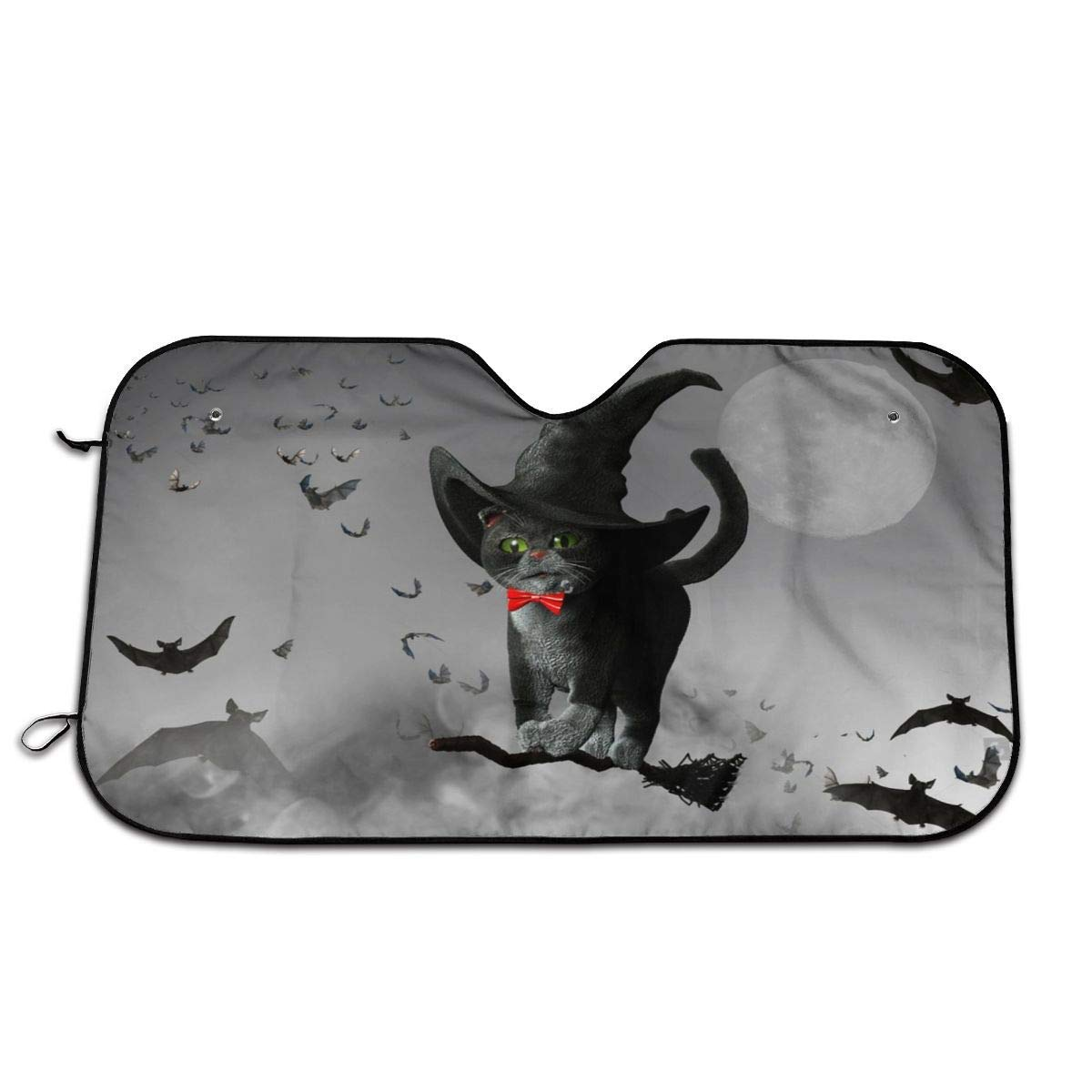 3D Illustration of Cat Wearing A Witches Hat On Halloween Flying On A Broom otectsUniversal Foldable Car Windshield Sun Shade UV Rays Sun Visor Protector Protector 51.2x27.5 Inch by DuoWi