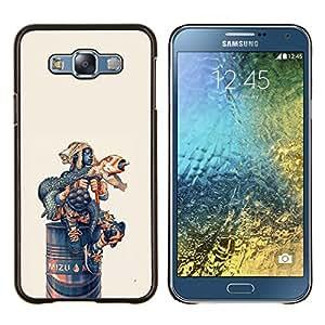 Qstar Arte & diseño plástico duro Fundas Cover Cubre Hard Case Cover para Samsung Galaxy E7 E700 (Lanzamientos de cohetes divertido Iguana)