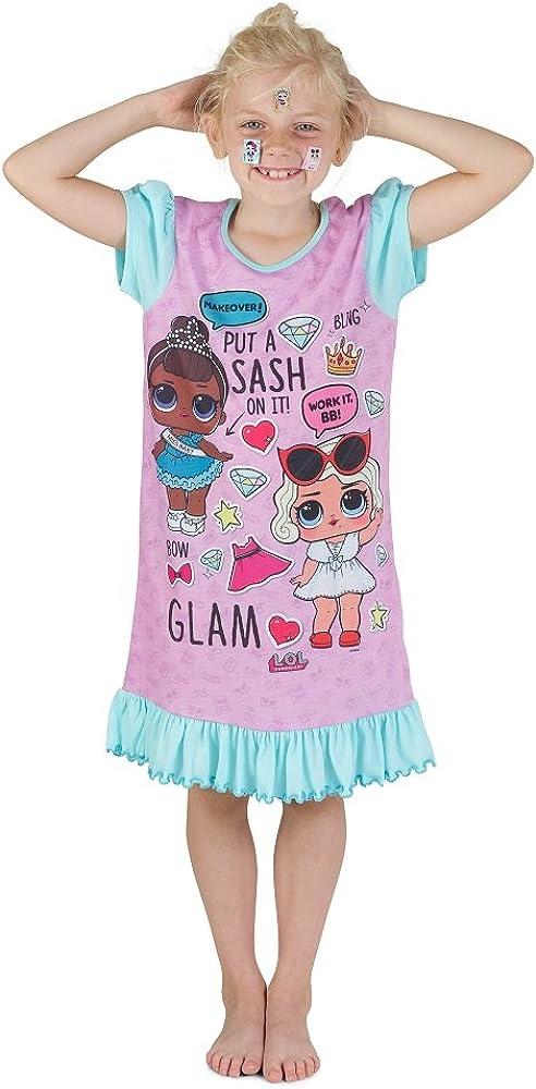 L.O.L Surprise Chemise Nuisette Ou Shortie Doll Confetti Pop Nuisette Robes pour Les Filles Doux Coton Lil Petits Outrageous