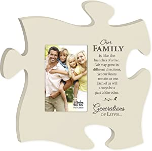 P. Graham Dunn Puzzle Piece Wall Art (Our Family Photo Frame - White)